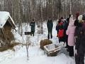Подкормка животных в зимнем лесу